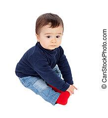 可愛, 嬰孩入席, 在地板上, 被隔离