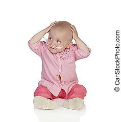 可愛, 嬰孩, 沒有, 頭髮, 拍打, the, 疾病