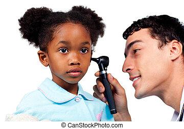 可愛, 小女孩, 在, a, 醫學, 訪問