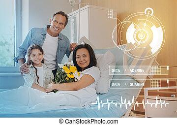 可愛, 肖像, ......的, a, 微笑, 家庭, 在, a, 現代, 醫院