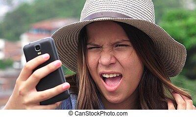 可愛, 青少年的 女孩, 做, selfies, 以及, 有趣的臉