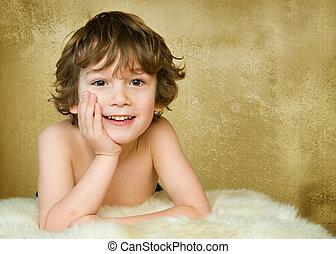 可愛, 5, 歲, 男孩