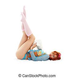 可愛, redhead, 由于, 玩具熊