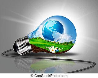 可持續發展, 以及, eco, 能量, 概念