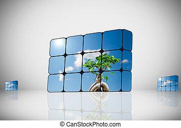可持續, 成長, concept:, 手, 以及, 立方