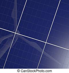 可更新的能量, 太阳的面板, 同时,, 风汽轮机