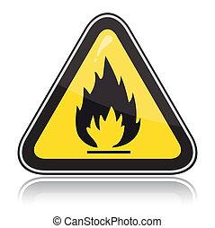可燃性, 印。, 注意, 三角, 黄色, 警告