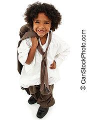 可爱, 学龄前, 黑色的女孩, 孩子, 穿, 父亲` s, 衣服
