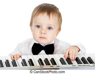 可爱, 钢琴, 电子, 玩, 孩子