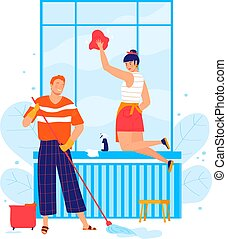 可爱, illustration., 性格, 人 , 一起, 夫妇, 年轻, , 已结婚, 清洁, 矢量, 白色, 窗口。, 房间, 洗涤, 男性, 女性, 卡通漫画, 隔离