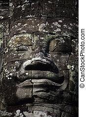 台なし, khmer, temple-, 彫像, cambodi, 顔, 巨大, ワット, angkor
