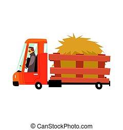 台分, イラスト, ベクトル, トラック, 農夫, 漫画, 干し草