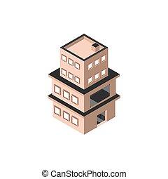 台地, 建物, 3, 物語, スタイル, 等大