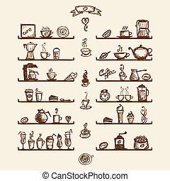 台所用具, 上に, 棚, ∥ために∥, コーヒーハウス, スケッチ, 図画, ∥ために∥, あなたの, デザイン
