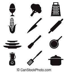 台所用具, 印, セット, イラスト