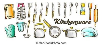 台所用品, ベクトル, 道具, 色, セット, コレクション