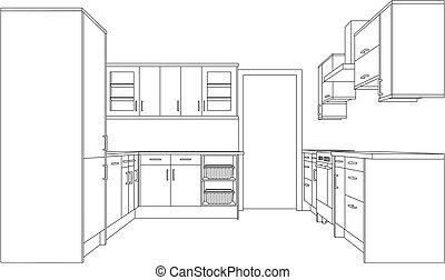 台所, フィットした, 図画
