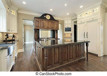 台所, 中に, 新しい, 建設, 家