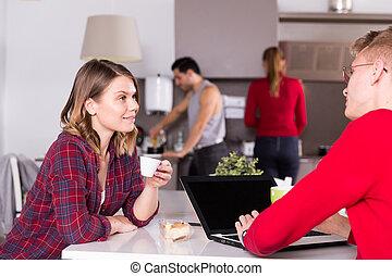 台所, 人, ホステル, 論じる, 女の子