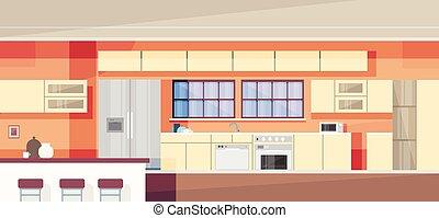 台所, 内部, 現代, デザイン