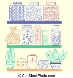 台所, 商品, ∥あるいは∥, 食料貯蔵室, 棚