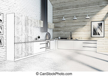 台所, 現代, room., 図画