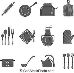 台所, 道具, 付属品, 黒, アイコン, セット