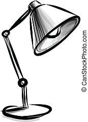 台灯, 可调整, 隔离, 白色