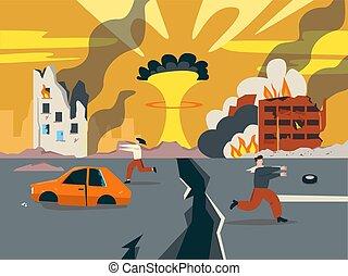 台無しにされる, 最後の審判の日, road., 分裂, 日々, 全壊, illustration., 核, 都市, 爆発, 最後
