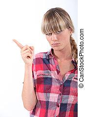 叱ること, 若い女性, 揺れる, 彼女, 指