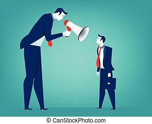 叱責, マネージャー, 人, ビジネスマン, メガホン, 叫ぶこと, colleague.