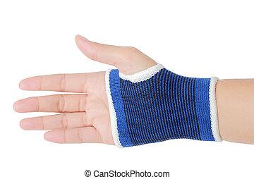 右手, 包まれた, 中に, 包帯, やし, サポート, 隔離された, クリッピング道