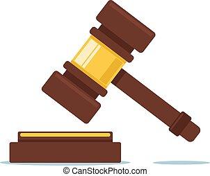 司法, グラフィック, 平ら, concept., 法廷裁判官, 漫画, デザイン, イラスト, ベクトル, ハンマー