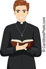 司祭, 聖書, 本, イラスト, 人