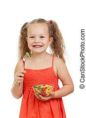 吃, 健康, 蔬菜, 食物, 孩子, 女孩