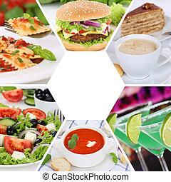 吃, 餐館, 食物, 菜單, 飲料, 彙整, 膳食, 拼貼藝術, 飯, 喝