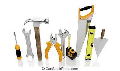 各种各样, 工具, 隔离, 在怀特上, 背景