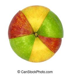 各种各样, 色彩丰富, sorts, 在中, 苹果, 切成薄片, 同时,, 加入, 在中, 一, 隔离