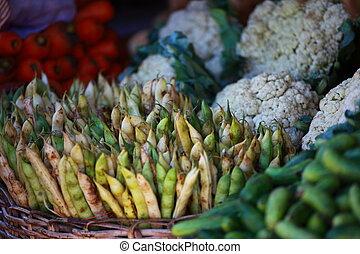 各种各样, 蔬菜, 在, 蔬菜, market., 印度