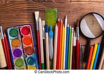 各種各樣, 學校, 以及, 藝術提供, 木製的桌子, 套間, 位置