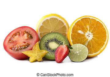 各種組み合わせ, の, エキゾチック, 新鮮な果物, 薄く切られる