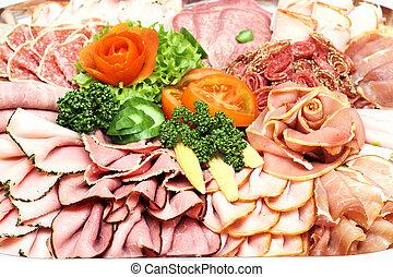各種組み合わせ, プレート, ソーセージ, 肉, に薄く切る