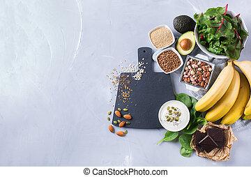 各種組み合わせ, 食物, 健康, 源, 高く, マグネシウム