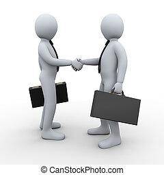 合作关系, 3d, 交易, 人们