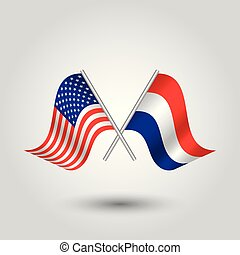 合併した, はり付く, シンボル, -, 2, 州, アメリカ人, ベクトル, 交差させる, オランダ語, netherlands, 旗, アメリカ, 銀