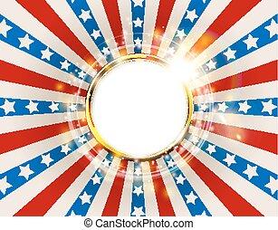 合併した, アメリカ, 色, フレーム, 州, 旗, sparks., 背景, 愛国心が強い, アメリカ, ラウンド