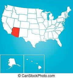 合併した, -, イラスト, 州, 州, アリゾナ, アメリカ