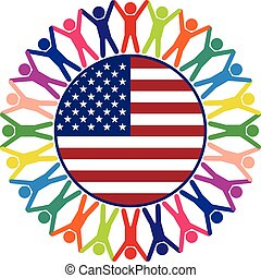 合併した, カラフルである, 人々, 州, ベクトル, アイコン, アメリカ