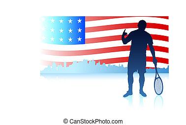 合併した, テニス, 州, プレーヤー, 旗, 背景