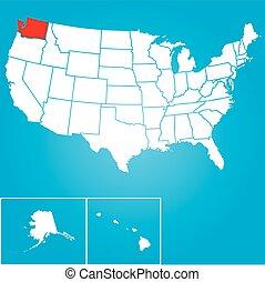 合併した, ワシントン, -, イラスト, 州, 州, アメリカ